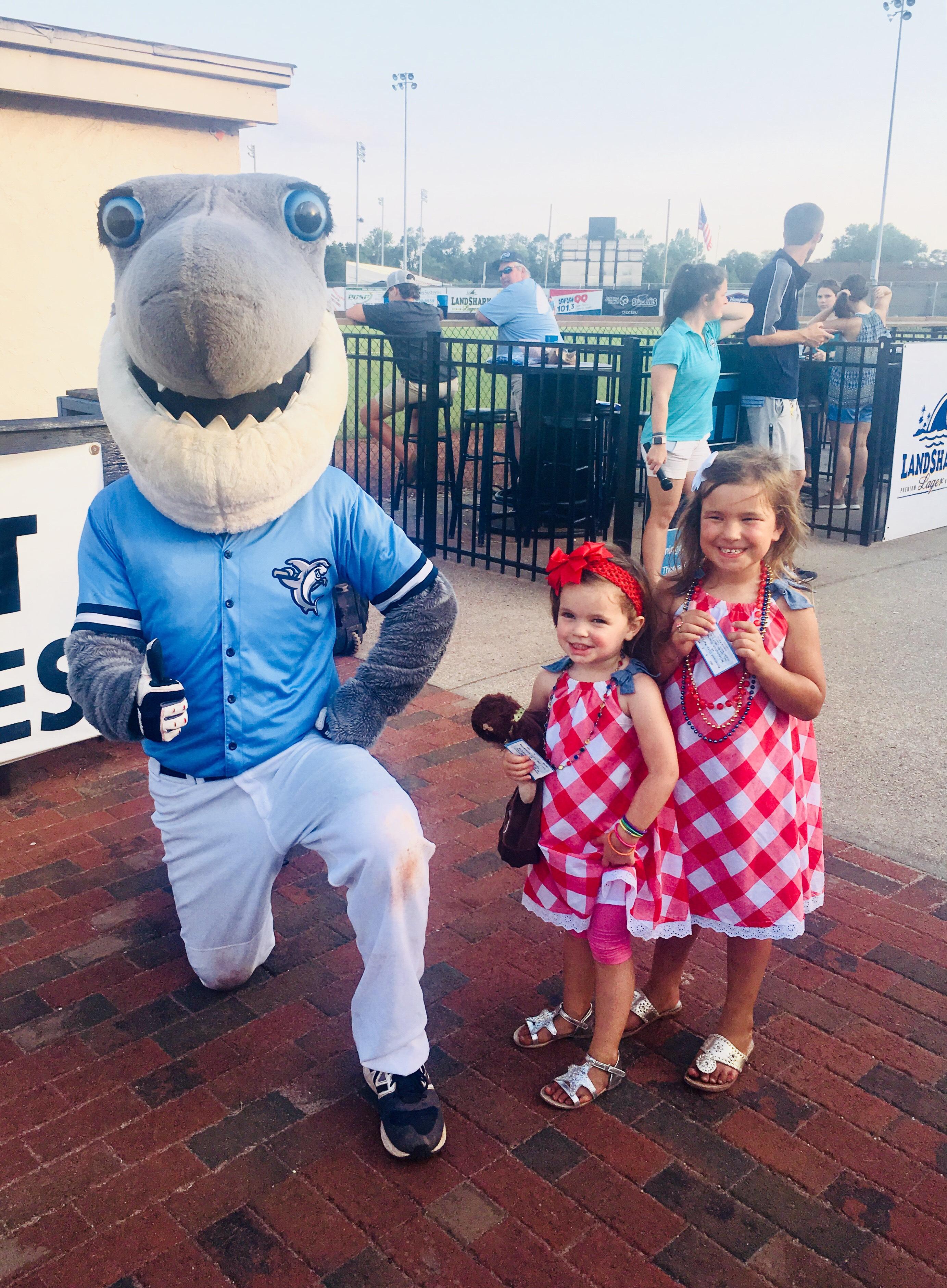 Sharks mascot with Sponsors family